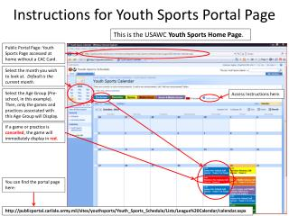 Instructions  for  Youth Sports Portal Page