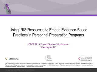 Using IRIS Resources to Embed Evidence-Based Practices in Personnel Preparation  Programs