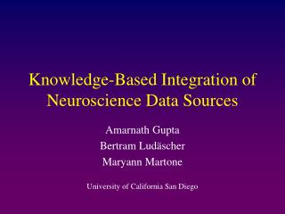 Knowledge-Based Integration of Neuroscience Data Sources