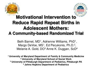 1  University of Maryland Department of Family & Community Medicine