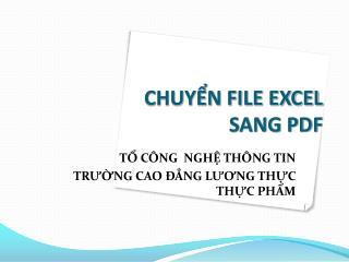 CHUYỂN FILE EXCEL  SANG PDF