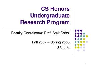 CS Honors Undergraduate Research Program