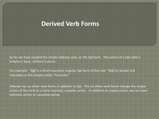 Derived Verb Forms