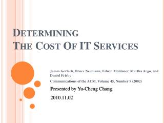 Determining  The Cost Of IT Services