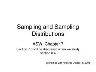 Sampling and Sampling Distributions
