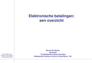 Universiteit Gent, Recht en Informatica 18 december 2003