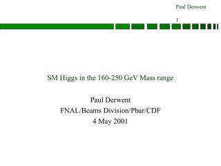 SM Higgs in the 160-250 GeV Mass range
