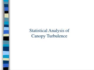 Statistical Analysis of  Canopy Turbulence