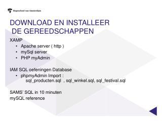 Download en installeer  de gereedschappen
