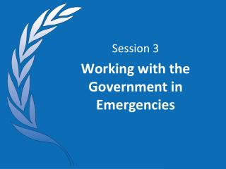 Session 3 Working with the Government in Emergencies