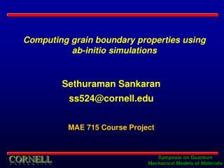 Sethuraman Sankaran ss524@cornell