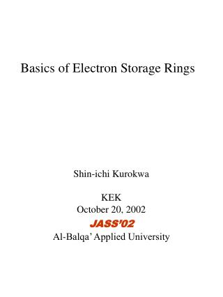Basics of Electron Storage Rings