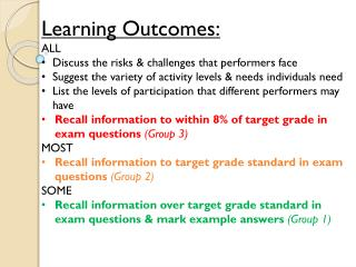 Learning Outcomes: ALL                Discuss the risks & challenges that performers face