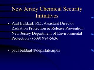 New Jersey Chemical Security Initiatives