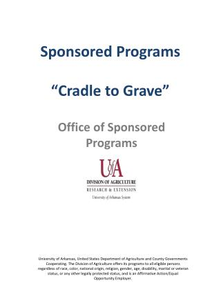 "Sponsored Programs ""Cradle to Grave"""