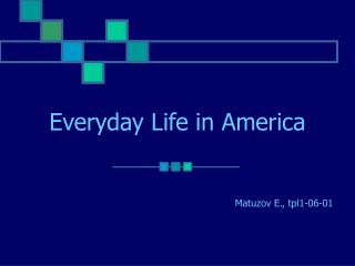 Everyday Life in America