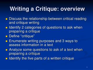 Writing a Critique: overview