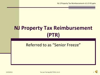 NJ Property Tax Reimbursement (PTR)