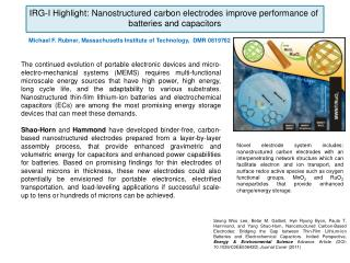 IRG-I Highlight: Nanostructured carbon electrodes improve performance of  batteries and capacitors
