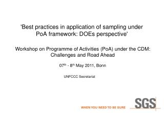 'Best practices in application of sampling under  PoA  framework: DOEs perspective'