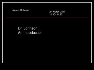 Dr. Johnson An Introduction