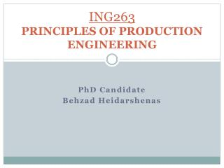 ING 26 3 PRINCIPLES OF PRODUCTION ENGINEERING