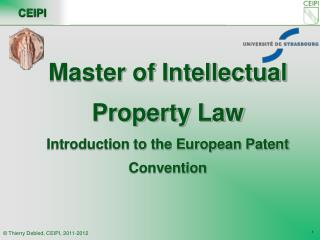 Master of Intellectual Property Law Introduction to the European Patent Convention