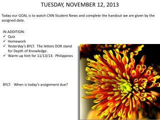 TUESDAY, NOVEMBER 12, 2013