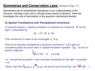 Symmetries and Conservation Laws  (Shankar Chpt. 11)