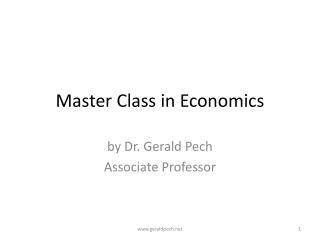 Master Class in Economics