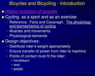 Bicycles and Bicycling - Introduction