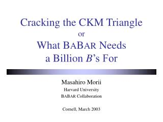 Cracking the CKM Triangle or What B A B AR  Needs a Billion  B 's For