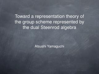 Toward a representation theory of the group scheme represented by the dual Steenrod algebra