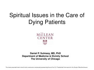 Spiritual Issues in the Care of Dying Patients