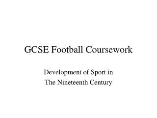 GCSE Football Coursework