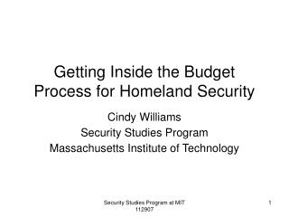 Getting Inside the Budget Process for Homeland Security