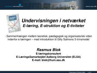 Undervisningen i netværket E-læring, E-struktion og E-tiviteter