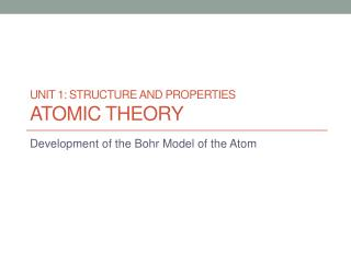 UNIT 1: Structure and properties Atomic Theory