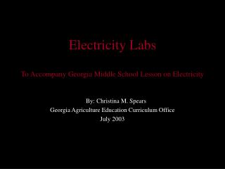 Electricity Labs To Accompany Georgia Middle School Lesson on Electricity