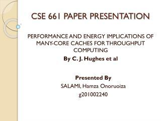 CSE  661 PAPER PRESENTATION