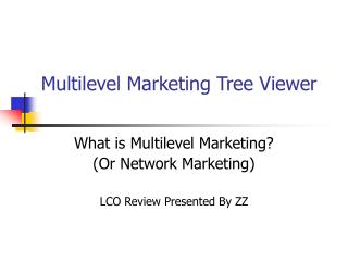 Multilevel Marketing Tree Viewer