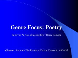 Genre Focus: Poetry