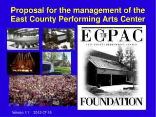 Proposal for the management of the East County Performing Arts Center