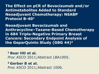 1  Bear HD et al. Proc ASCO  2011;Abstract LBA1005.