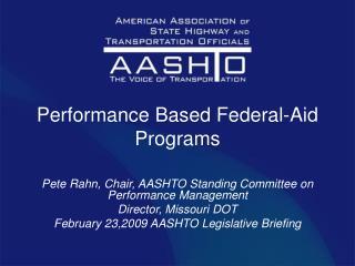 Performance Based Federal-Aid Programs