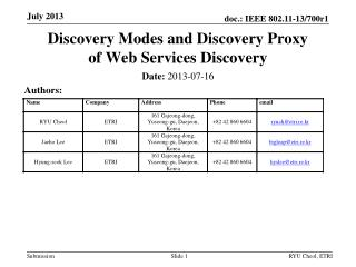 Discovery Modes and Discovery Proxy  of Web Services Discovery