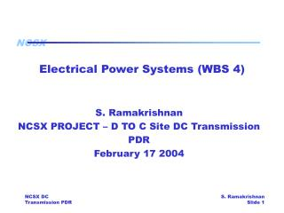 Electrical Power Systems (WBS 4)