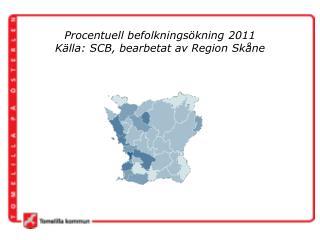 Procentuell befolkningsökning 2011  Källa:  SCB, bearbetat av  Region Skåne
