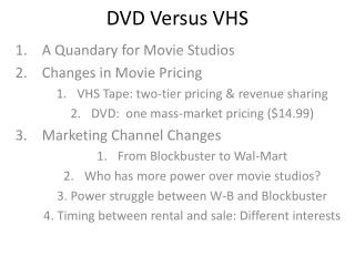 DVD Versus VHS