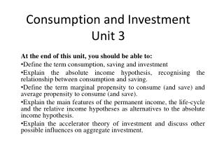 Consumption and Investment Unit 3